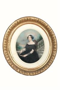 portrait de madame chevalier, en robe de dentelles noires (+ portrait de jeune femme en robe blanche; pair) by sophie aizelin
