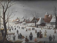 a winter landscape with figures on the ice by hendrick avercamp