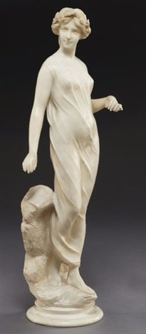 classical beauty standing on a rocky base wearing a laurel crown and holding writing implements by e battiglia