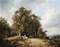 travellers in a dutch landscape by frans arnold breuhaus de groot