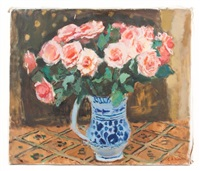 bouquet de roses au vase blue by georges andre klein