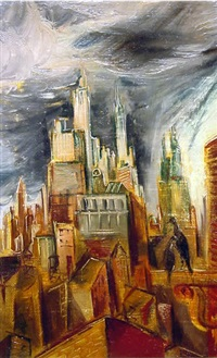 view of manhattan; skyscrapers by frederick taubes
