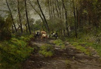 cows on a track by adolf lins
