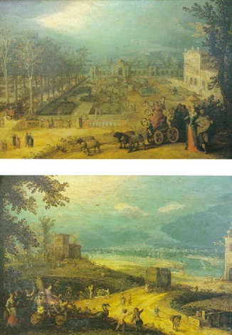 promeneurs dans un paysage inspiré des jardins de la villa médicis ou lallégorie du printemps by louis de caullery