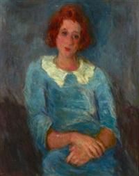 jeune fille en bleu by eugène ebiche