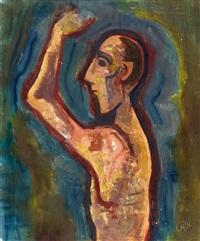 mann im profil mit erhobenem arm by karl hofer