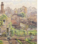 the brook, sunny weather by lucien pissarro