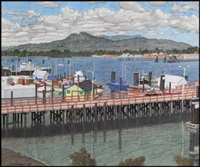 approach to the public wharf, cowichan bay by edward john hughes