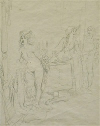 study for a watercolour by norman alfred williams lindsay