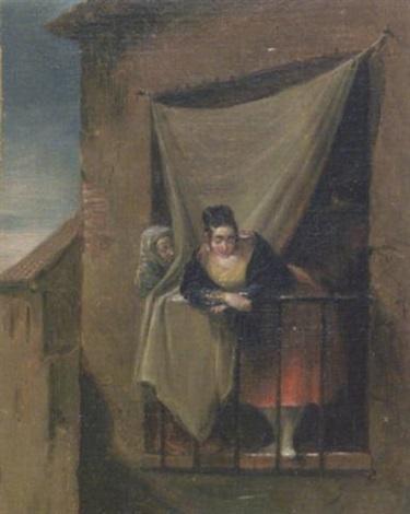 jeune femme au balcon by leonardo alenza y nieto