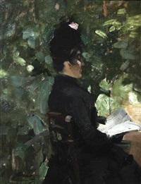 femme assise dans un jardin lisant by alfred smith