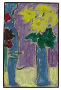 stilleben: gelbe blumen in blauer vase by alexej jawlensky
