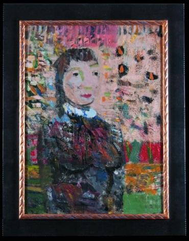 portret kobiety na różowym tle by artur nacht samborski