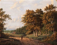 shepherd with his flock in a wooded landscape by hendrik pieter koekkoek