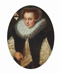 portrait of a lady, half-length, in a white and gold dress, with a ruff and lace cap by gortzius geldorp