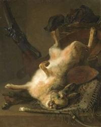 lièvre et fusil sur un entablement by jan weenix