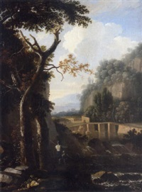 an italianate landscape with a waterfall and anglers in the foreground by bartholomeus appelman