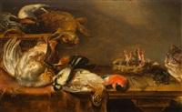 martwa natura z kotem czającym się na pisklęta by alexander adriaenssen the elder