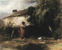 cottage scene with a girl by a duck pond by j. alexander