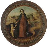 the virgin and child in a landscape by ambrogio da (il bergognone) fossano