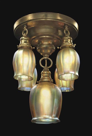 five light tulip ceiling light by tiffany studios