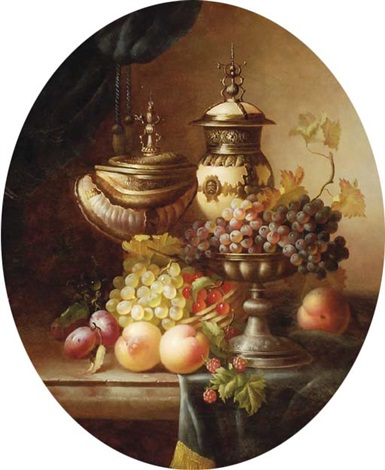 grapes peaches plums and other fruit with urns on a ledge by jean laurent