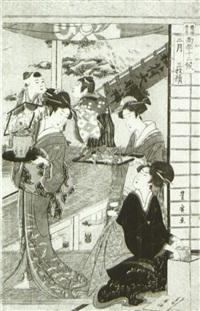 nigatsu sanmai tsuzuki (oban triptych from toyokuni toyohiro ryoga juniko) by utagawa toyohiro