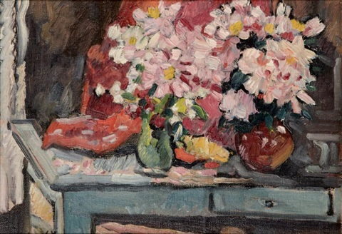 table de campagne aux deux bouquets by louis valtat