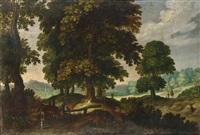 a forest landscape with travellers, and sportsmen with their dogs by flemish school-brussels (17)