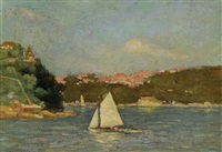 untitled - sailing boat in sydney harbour by geoffrey keith townshend