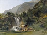 chutes inférieures du reichenbach à meiringen by jean francois xavier roffiaen