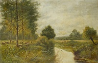 sheep grazing by a river by william langley