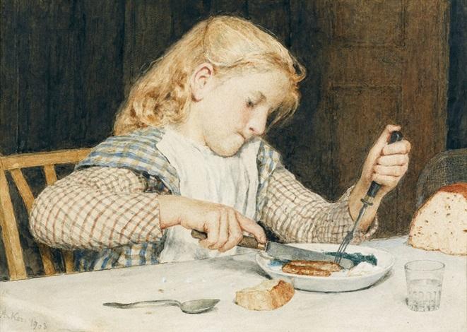 speisendes mädchen am tisch by albert anker