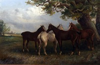horses grazing under a tree by thomas smythe