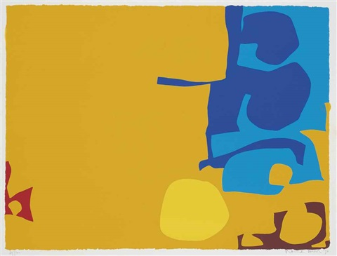 abstract in yellow and blue by patrick heron