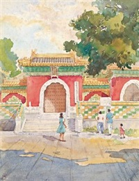 北海天王门前 (scenery of beihai park) by liang yunqiao