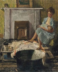 nursing by a fireside by walter greaves