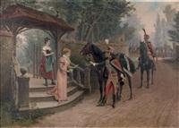 billet de logement de deux chasseurs de la garde...1813-1815 ou la missive déposée par deux officiers de hussard by paul léon jazet