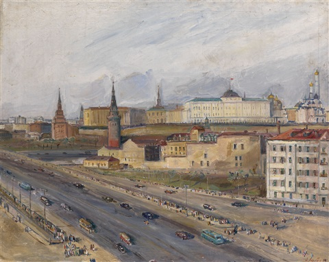 view of the kremlin from a window by alexandre arkadevich labas