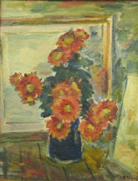 zinnias in blue pot by calin alupi