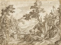 a horseman crossing a bridge in a wooded landscape, a town beyond (on joined sheets) by paul bril