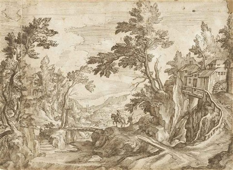 a horseman crossing a bridge in a wooded landscape a town beyond on joined sheets by paul bril