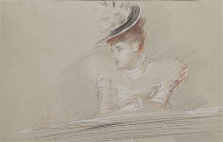 portrait de femme au chapeau by paul césar helleu
