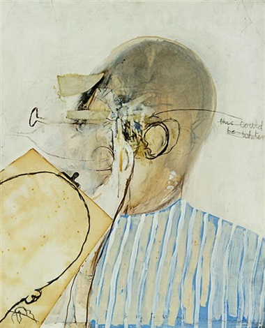 drawing a man drinking from the christie murder series by brett whiteley