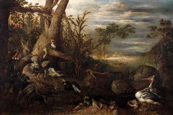 cerf autruche hérons pélicans et perroquets by roelandt savery