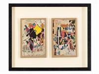 2 collages on cardborad by arthur aeschbacher