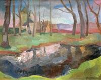 paysage au bord de rivière by jacques gotko