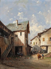 vues de village du pays basque (pair) by alfred godchaux