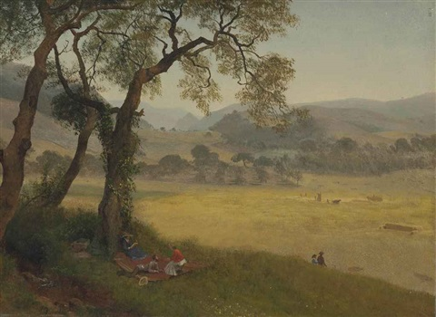 a golden summer day near oakland by albert bierstadt
