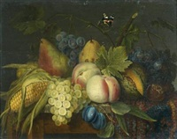 nature-morte à l'épi de maïs et divers fruits sur un entablement by jan frans van dael